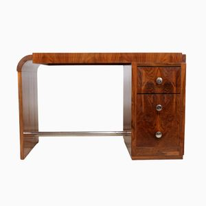 French Art Deco Desk in Walnut, 1930s