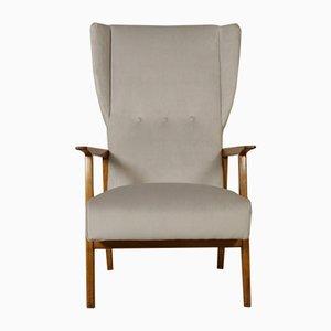Italian Armchair in Oak, Foam Padding, and Velvet, 1950s
