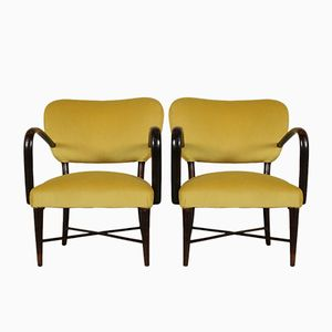 Vintage Italian Armchairs in Stained Wood & Velvet, Set of 2