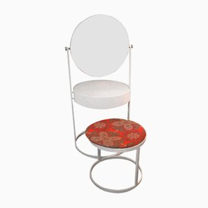 Vintage White Dressing Table with Stool, 1960s