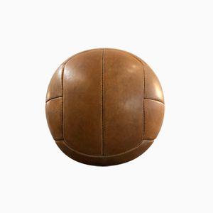 Vintage Brown Leather Medicine Ball, 1940s