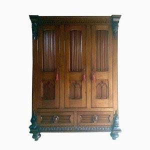 Tall 19th Century Victorian Pitch Pine Wardrobe