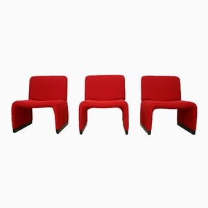 Red Hopsack Lounge Chair by Giancarlo Piretti for Castelli