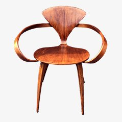 vintage walnut chair by norman cherner for plycraft