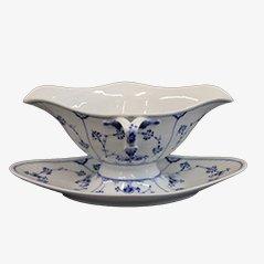 Blaue Gerippte Porzellan Sauciere von Royal Copenhagen