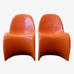 Orangefarbene S-Chairs von Verner Panton für Herman Miller, 1973, 2er Set