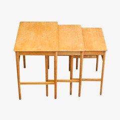 Tables Gigognes , Modèle AT 40, par Hans J. Wegner pour Andreas Tuck, 1960s, Set de 3