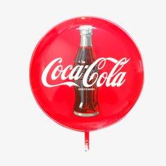 Grand Panneau Publicitaire Coca-Cola Emaillé Recto-Verso, 1960s