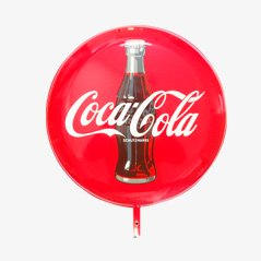 Grand Panneau Publicitaire Coca-Cola Emaillée Recto-Verso, 1960s