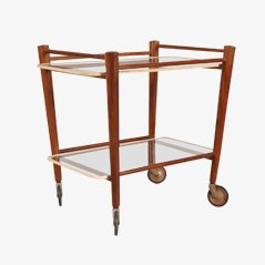 Teak Trolley with Two Glass Tops by Cees Braakman for Pastoe