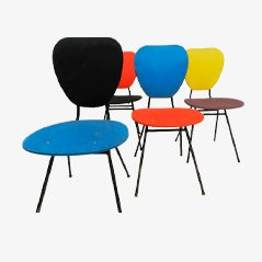 Multicolored Plastic French Chairs, 1950s, Set of 4