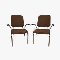 Vintage Rundstahl Armlehnstühle von Martin de Wit für Gispen, 1960er, 2er Set
