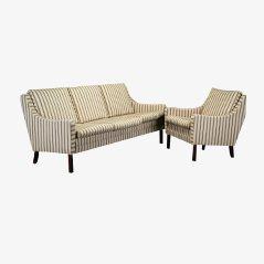 Vintage Danish Cream Sofa and Armchair, Set of 2