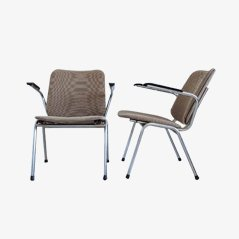 Vintage Chrome Easy Chairs, Set of 2