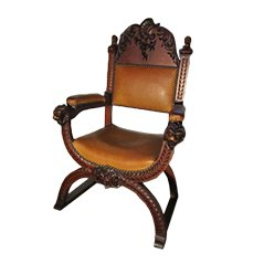 Antique Carved Wood & Leather Throne Chair