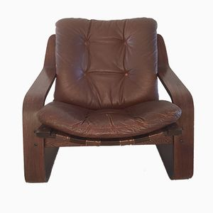 Vintage Leather Lounge Chair with Plywood Frame