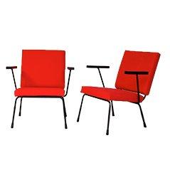 Rote Mid Century Wollstoff Lounge Sessel Model 415/1401 von Wim Rietveld für Gispen Netherlands, 2er Set