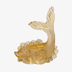 Scultura a forma di pesce Art Déco in vetro di Murano e oro di Seguso