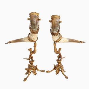 Vintage Mounted Horns, Set of 2