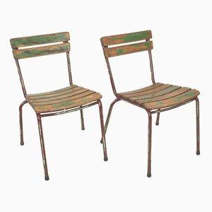 Französische Vintage Gartenstühle, 2er Set