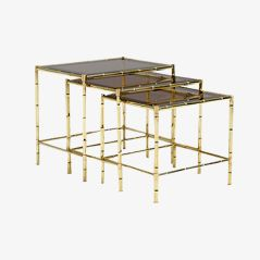 Mid Century Faux Bamboo Nesting Tables, Set of 3