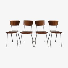 Dutch Plywood Chairs, 1970s, Set of 4