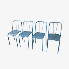 French Industrial Stackable Metal Chairs, 1950s, Set of 4