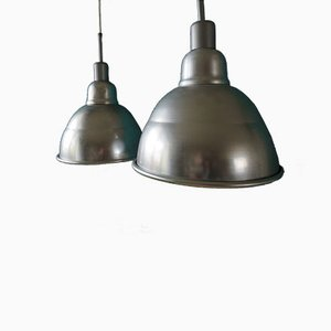Industrial French Pendant Lights, 1950s, Set of 2