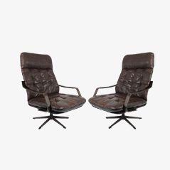 Dänische Vintage Leder und Holz Lounge Stühle, 2er Set