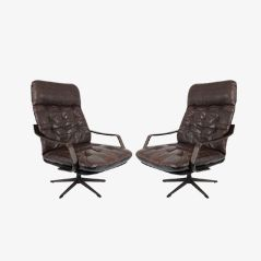 Vintage Danish Leather and Wood Lounge Chairs, Set of 2