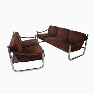 Canadian Vintage Nubuk Leather Sofas from Québec 69, Set 2