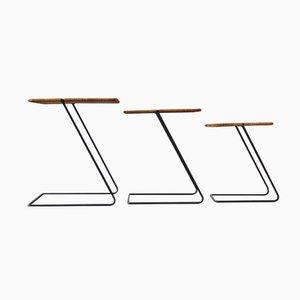 Tables Gigognes Vintage Modernistes en Rotin, Set de 3