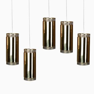 Lampe à Suspension Vintage Petite en Laiton, Set de 5