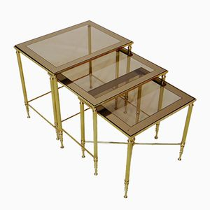 French Brass Nesting Tables, Set of 3