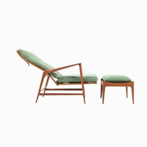 Vintage Lounge Chair & Ottoman by Ib Kofod-Larsen for Selig, Set of 2