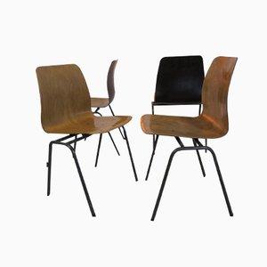 Industrielle Vintage Sperrholz Stühle, 4er Set, 1970er