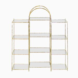 Vintage Glass and Gold-Plated Metal Shelving Unit