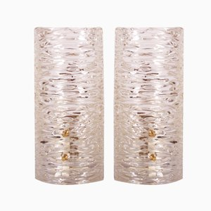 Textured Glass Wall Sconces by J. T. Kalmar, Set of 2