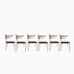 Dutch Industrial Stacking Chairs from Gispen, 1960s, Set of 6