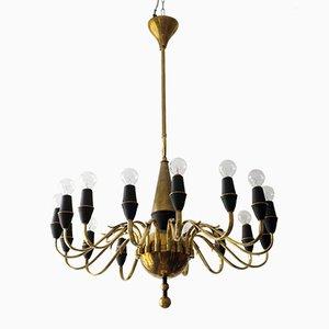 Mid Century Brass Chandelier by Stilnovo