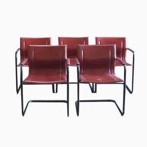 Esszimmerstühle aus Rotem Leder und Schwarzem Metall von Matteo Grassi, 1970er, 5er Set