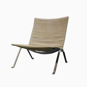 PK22 Leinen Lounge Stuhl von Poul Kjaerholm für Fritz Hansen