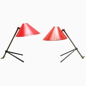 Rote Modell Pinocchio Tischlampen von H. Th. J. A Busquet für Hala, 2er Set