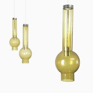 Hand Blown Glass Pendant Light by Staff, Set of 3
