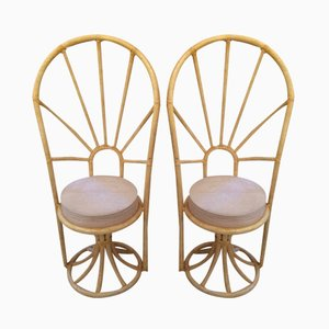 Italian Bamboo Chairs, 1970, Set of 2