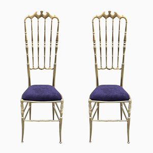 Vintage High Backed Chiavari Chairs in Brass, Set of 2