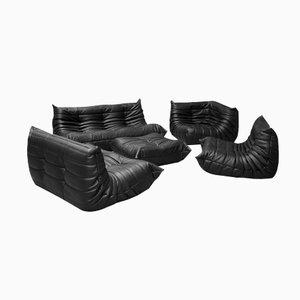 Set da salotto vintage Togo in pelle nera di Michel Ducaroy per Ligne Roset