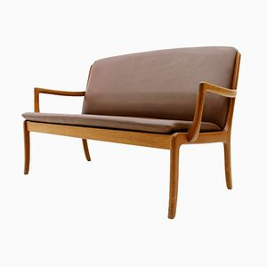 Teak & Leather Sofa by Ole Wanscher for Cado