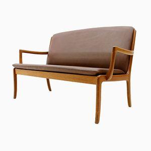 Teakholz & Leder Sofa von Ole Wanscher für Cado