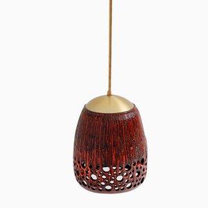 Lampe Suspendue Rouge en Céramique Vernie